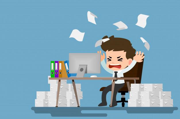 Homme affaires fatigue stresse au bureau par beaucoup travail 37895 12